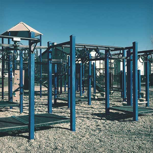 Metal playground with monkey bars and rings.